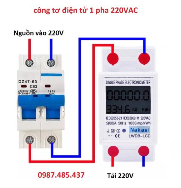Công tơ điện tử 1 pha 220V-60A Nakasi - đồng hồ đo công suất tiêu thụ Kwh