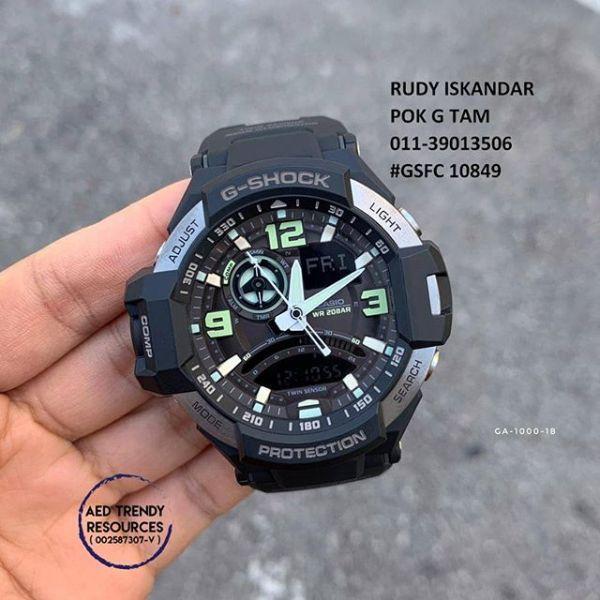 Đồng hồ nam G-SHOCK GA1000 (FULL ĐEN VIỀN BẠC) chống  nước 3 atm nam nữ đeo đều được bán chạy