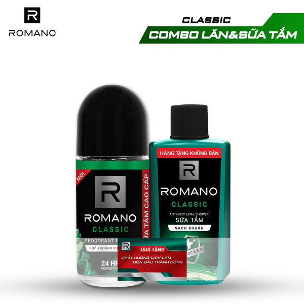 Lăn khử mùi Romano 50ml + Sữa tắm sạch khuẩn 60g giá rẻ