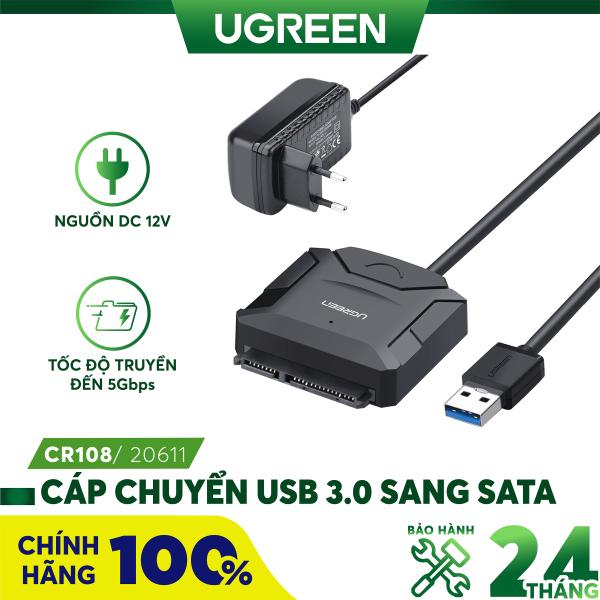 Bảng giá [Nhập ELMAY21 giảm thêm 10% đơn từ 99k] Dây chuyển đổi USB 3.0 sang SATA kèm dây nguồn 12V2A dài 25CM UGREEN CR108 ( 20231 ) 20611 - Hãng phân phối chính thức Phong Vũ