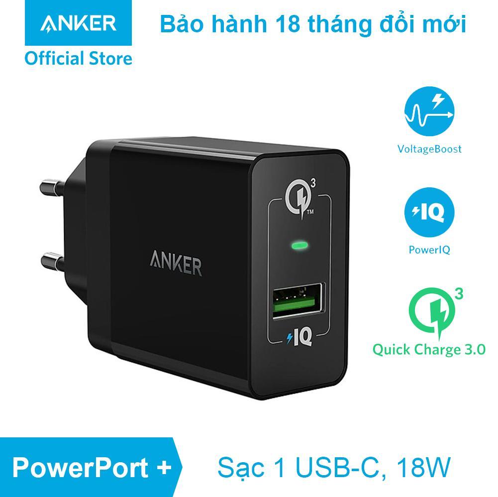 Sạc ANKER PowerPort+ 1 cổng 18w Quick Charge 3.0 có PowerIQ - A2013