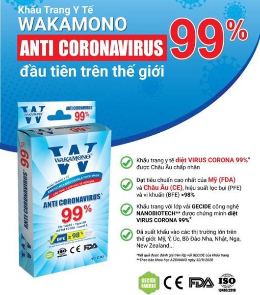 [HCM][Cam kết Chính hãng] Hộp 10 cái Khẩu trang WAKAMONO diệt 99% Vius Corona đầu tiên trên thế giới đạt tiêu chuẩn Mỹ (FDA) & Châu Âu (CE)