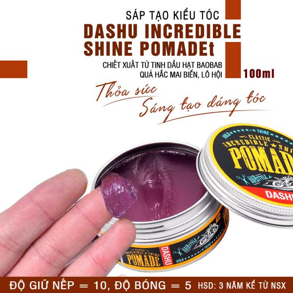 Pomade gốc nước độ bóng cao 5, giữ nếp vượt trội 10 Dashu Classic Incredible Shine Pomade 100g dùng cho mọi loại tóc, tốt cho người châu á, thành phần thảo dược an toàn, lành tính, không gây hại cho tóc và da đầu. giá rẻ