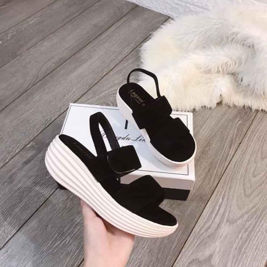 giày sandal bánh mì đế trắng 2 quai nhung mới - SD-0256 giá rẻ