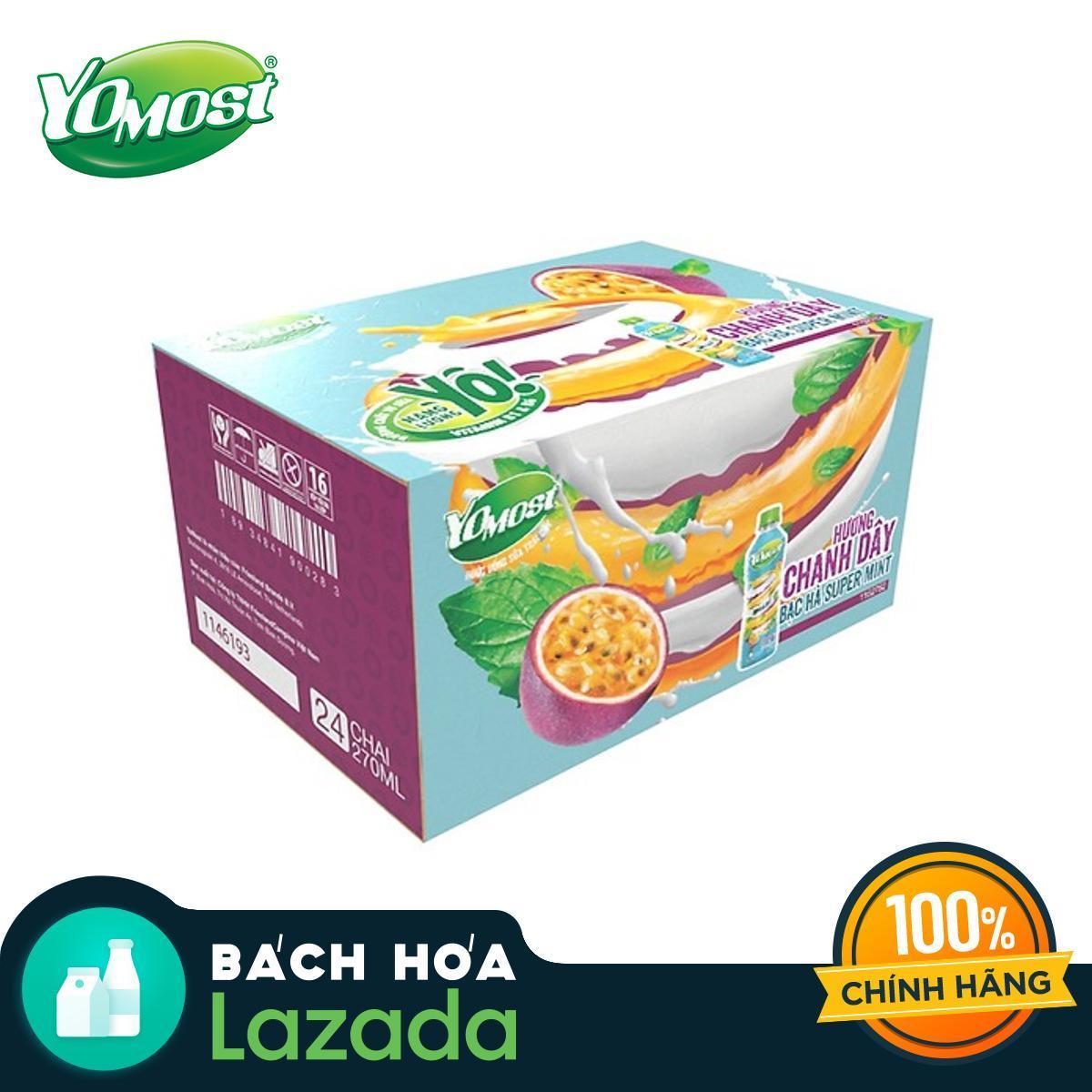Thùng 24 Chai Sữa Trái Cây Yomost Chanh Dây Bạc Hà 270ml Với Giá Sốc