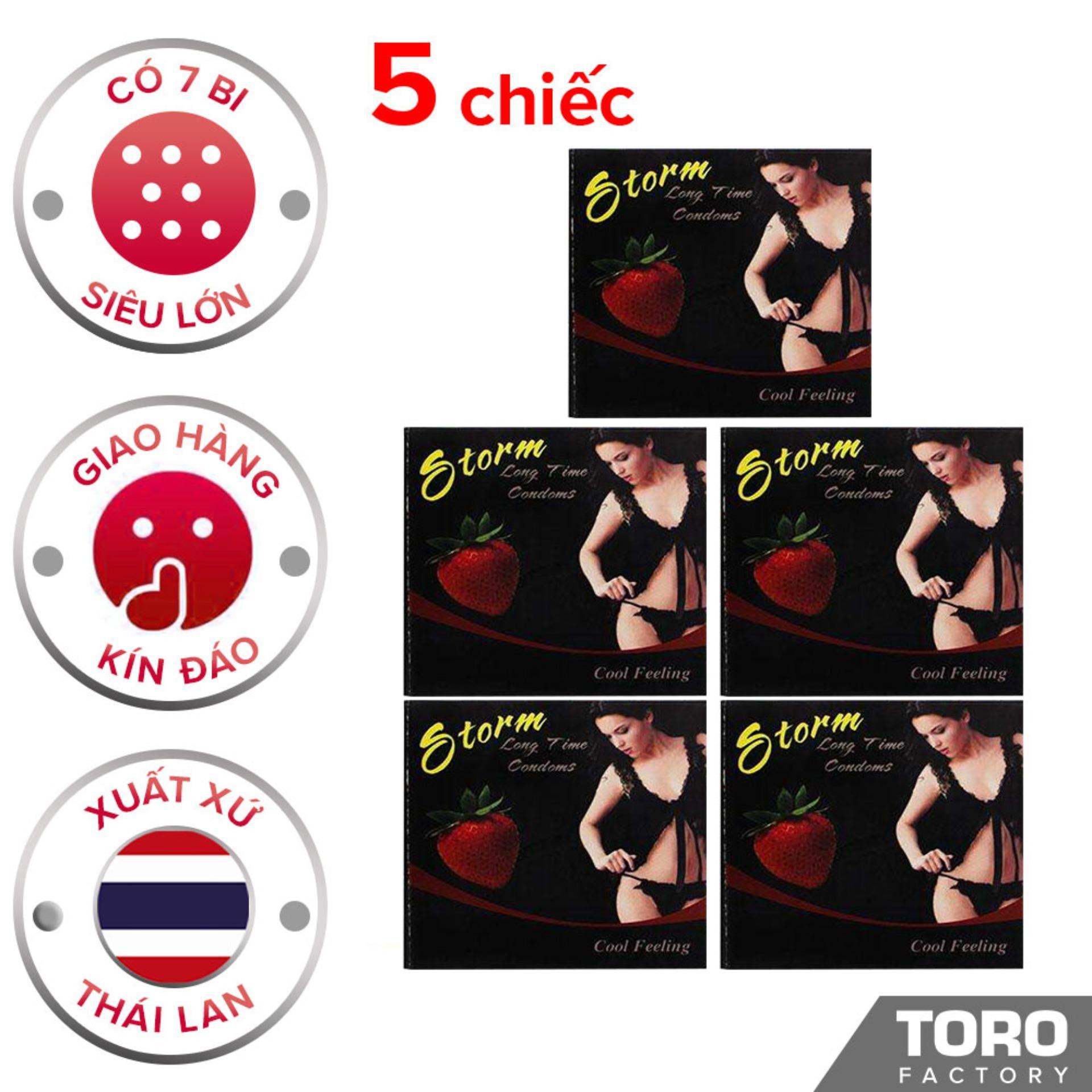 [5 chiếc] Bộ 5 Bao cao su Storm Thái Lan ( 7 bi) thiết kế phần đầu  - Toro nhập khẩu