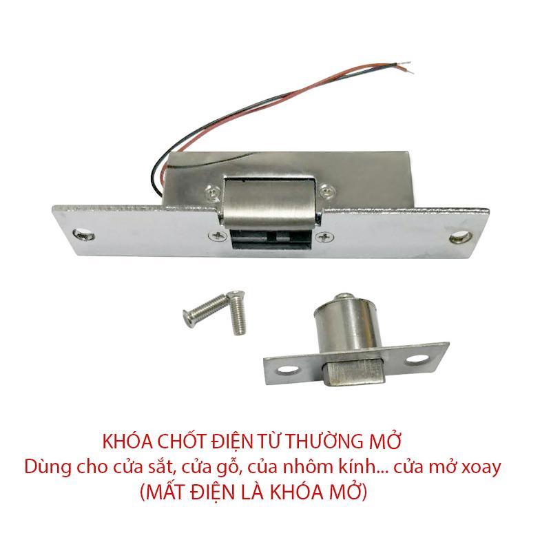 Khóa lẫy điện từ thường mở loại 12VDC cho cửa sắt, cửa gỗ, kho lạnh, cửa nhà