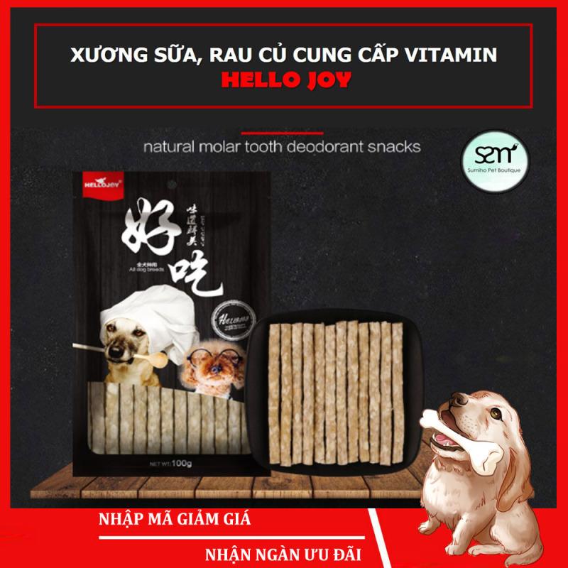 Xương sữa rau củ bổ sung Vitamin cho cún cưng Hello Joy (Túi 95gr-10 que) - Xương gặm cho chó