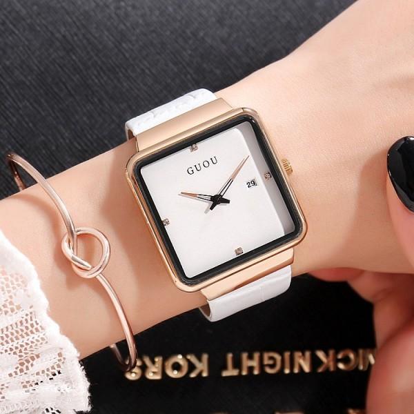 Đồng hồ nữ dây da mặt vuông thời trang phong cách trẻ trung, cá tính GUOU 8179 bán chạy