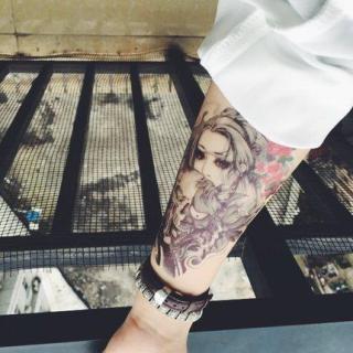 Hình xăm dán đẹp tatoo cô gái đầu lâu kích thước 15 x 21 cm thumbnail