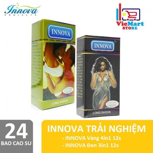 Bao cao su Innova 12s (Vàng - Gân và Gai) + Tặng Bao cao su Innova 12s (Đen - Gai) - Hãng phân phối chính thức cao cấp