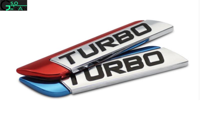 Tem kim loại chữ TURBO dán trang trí ô tô trắng phối đỏ và trắng phối xanh