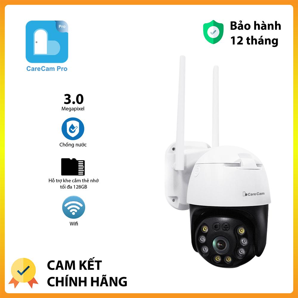Camera ip wifi giám sát PTZ Carecam FullHD 3.0MP 2 RÂU ngoài trời hồng ngoại cảnh báo động chuyển động, xoay 360 khu vực quan sát rộng, an ninh cao – Bảo hành 12 tháng
