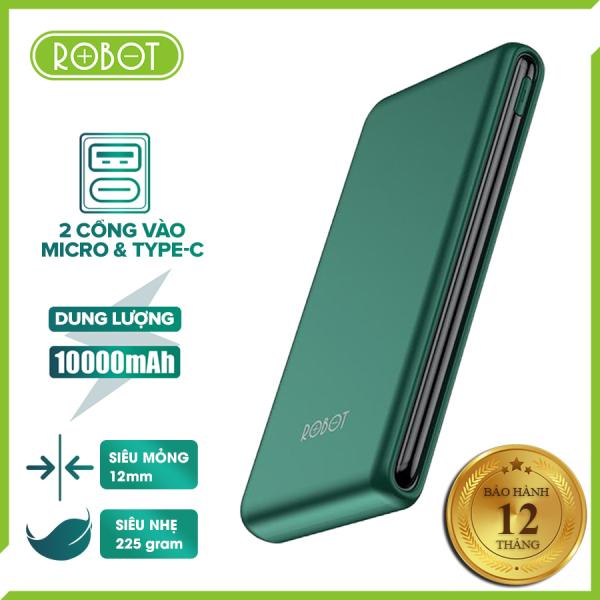 [Bảo hành 1 đổi 1 mới] Pin sạc dự phòng ROBOT RT180 dung lượng 10000mAh pin Lithium Polymer, sạc tốc độ cao 2A, 2 cổng sạc vào Micro/Type-C, thiết kế siêu mỏng siêu nhẹ, tặng dây sạc Micro