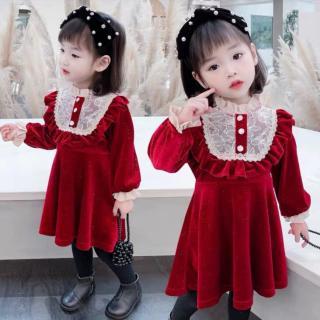 VÁY NHUNG REN ĐÍNH CÚC - VBG-Nhung-ren-váy diện tết bé gái