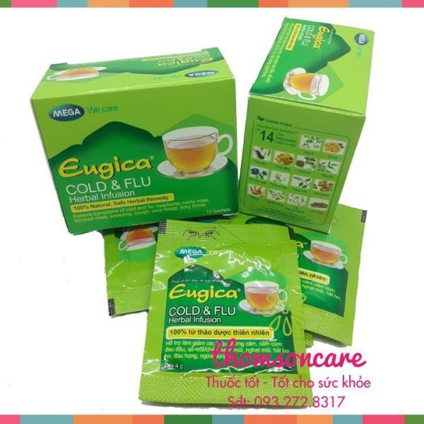 Trà giải cảm Eugica từ thảo dược, phòng cúm, ngạt mũi, hắt hơi, cảm lạnh từ gừng, tiêu đen, quế - Hộp 10 gói nhập khẩu
