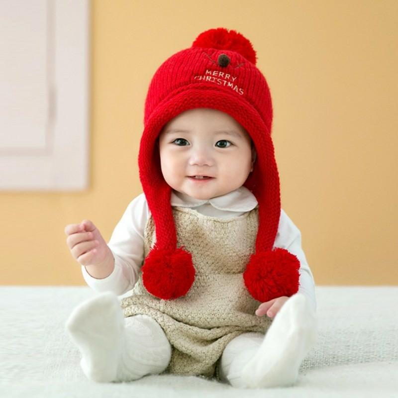 Giá bán Mũ len che tai thêu họa tiết tuần lộc đáng yêu cho bé(6 tháng-4tuổi)