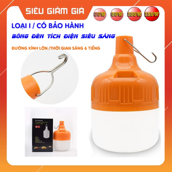 (Bảo Hành 6 Tháng) Bóng đèn tích điện từ 30 đến 120W , bóng đèn led siêu sáng , bóng đèn sạc tích điện độ bền cao , cỡ lớn . Bóng đèn tích điện dùng cho hoạt động buôn bán , dã  ngoại ngoài trời , phòng khi mất điện .
