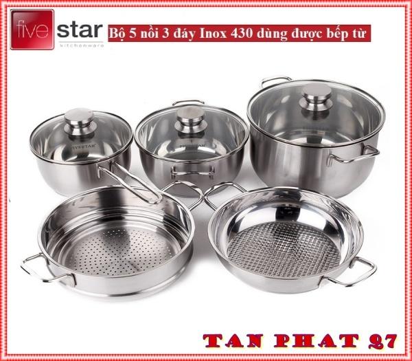 Bộ Nồi Inox 5 MON  Fivestar 3ĐÁY Dùng Bếp Từ, Bảo Hành 5 Năm