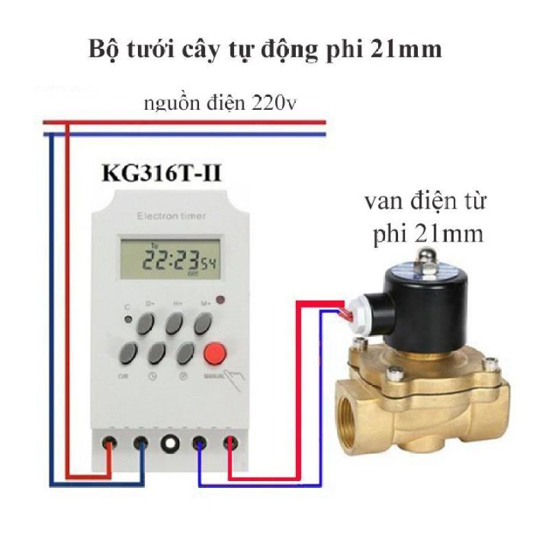 Bộ tưới cây tự động gồm công tắc hẹn giờ Kg316T-II và van điện từ phi 21mm