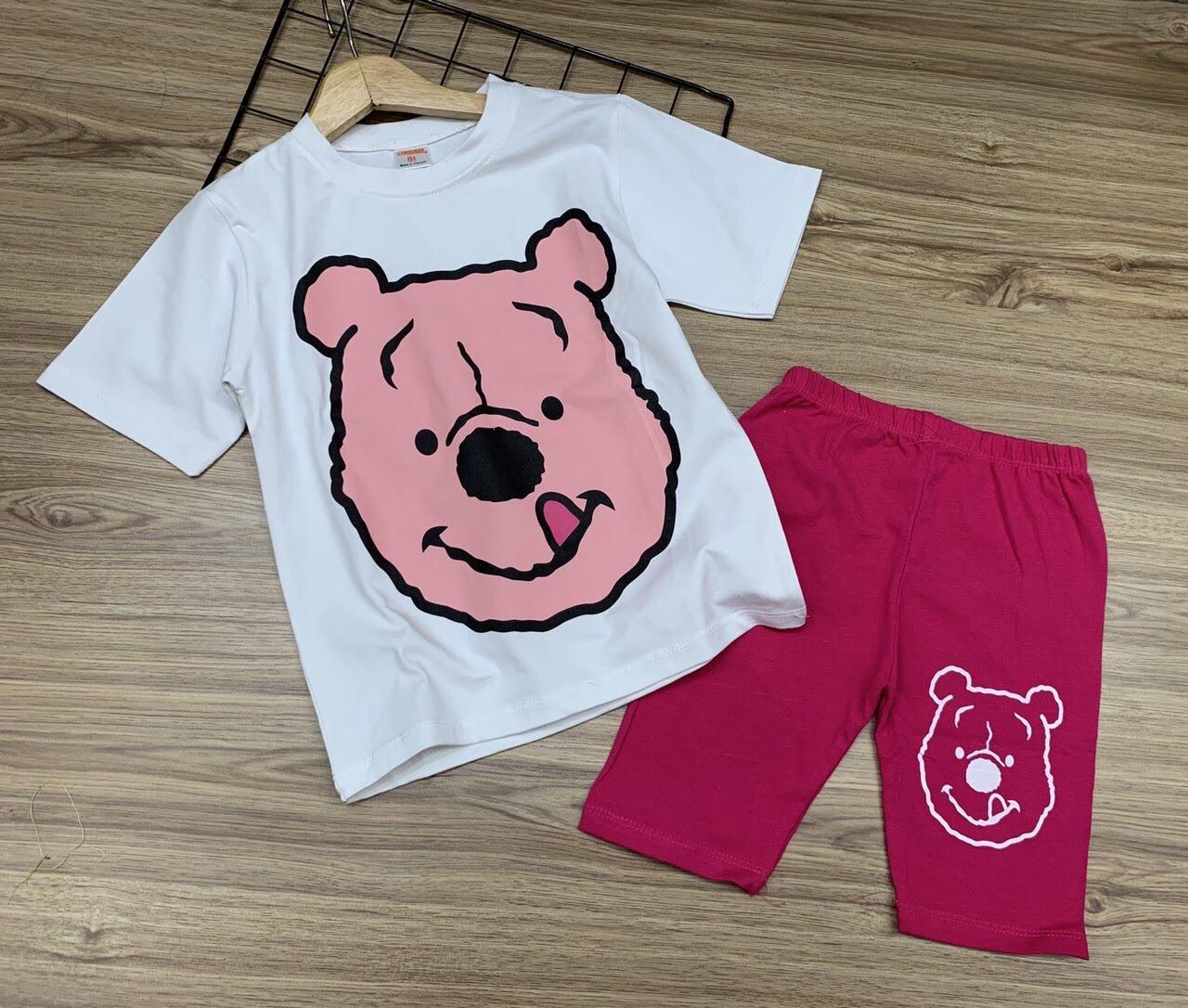 Bộ ngố thun cotton in hình hoạt ình siêu xinh size đại cho bé lớn từ 22 đến 40kg - Bộ quần áo trẻ em