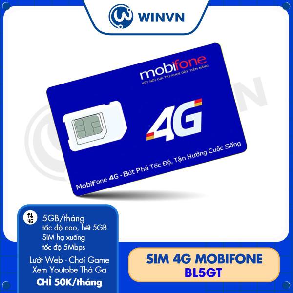 Sim 4G Mobifone BL5GT maxdata - Tặng 5GB/Tháng - Lướt Web - Chơi Game - Xem Youtobe Thả Ga chỉ 50k/tháng.