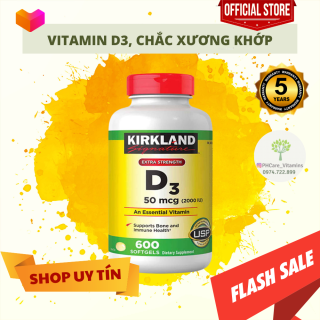 Viên Uống Bổ Sung Vitamin D3 Kirkland Signature Vitamin D3 2000IU 600 viên, Chắc Xương Khớp DATE 2024 PHCare thumbnail
