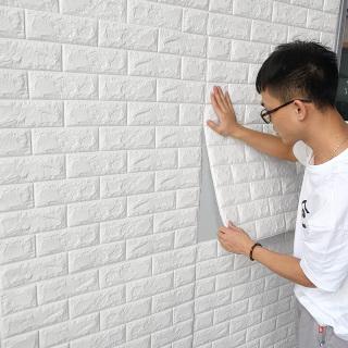 Tấm Xốp Dán Tường 3D Giả Gạch Chịu lực, chống nước, chống ẩm mốc 70x77cm (Màu săc Xanh lá. Xanh dương, Vàng. Đỏ. Kem. Trắng. Hồng) - Giấy dán tường, Giấy dán giả gạch, Giấy dán tường chống thấm nước, Decal trang trí thumbnail