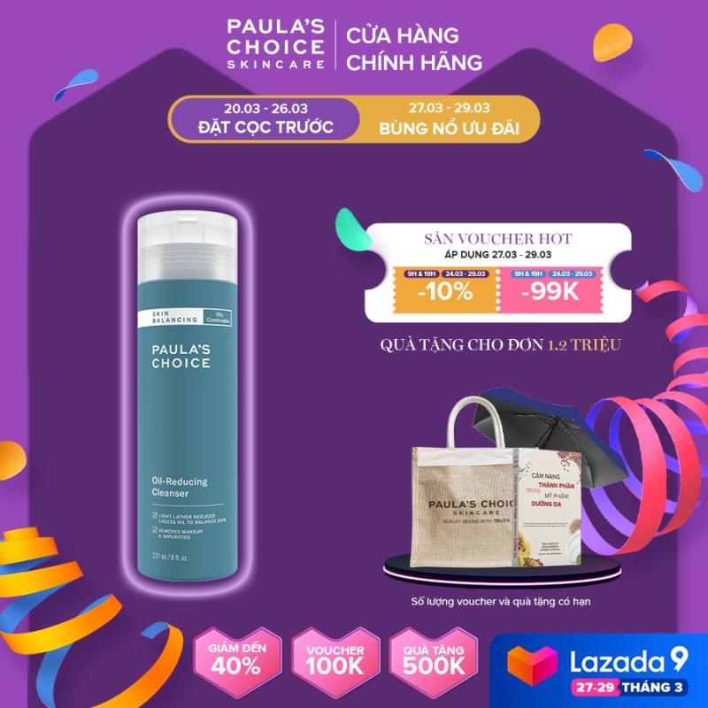 Sữa Rửa Mặt Cân Bằng Độ Ẩm Và Kiềm Dầu cho da dầu, da hỗn hợp  Paula's Choice Skin Balancing Oil Reducing Cleanser 237ml 1150 giá rẻ