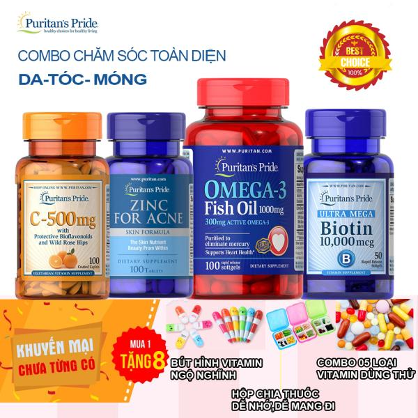 [Tặng thêm 8 sản phẩm]Duy nhất 27-3 Combo 4 sản phẩm vitamin C, kẽm trị mụn, omega 3 biotin 10000mcg 50 viên của Mỹ Puritans price giá rẻ