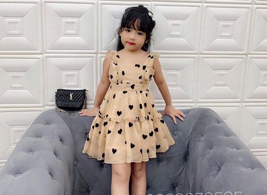 Giá bán Đầm xòe bé gái họa tiết trái tim cho bé từ 1-10 Tuổi cực xinh