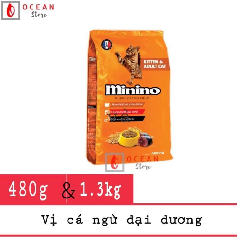 Thức ăn hạt vị cá ngừ đại dương cho mèo - Thức ăn Minino cho mèo mọi lứa tuổi (Túi 480g và 1.3kg)