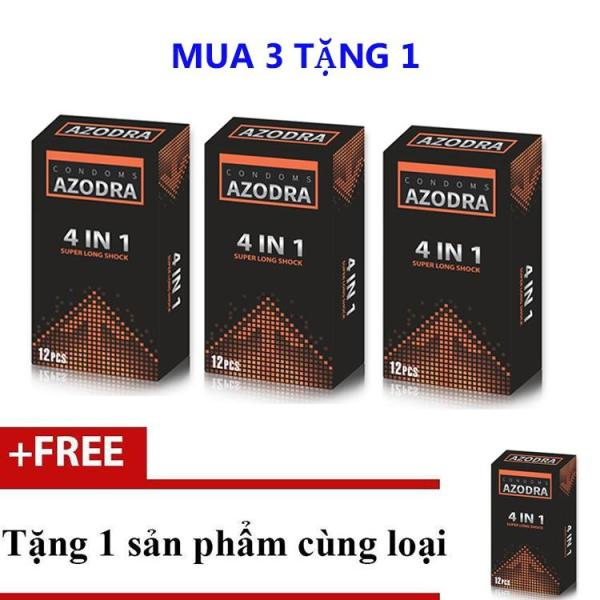 [HCM]Bộ 3 hộp Bao Cao Su Kéo Dài Thời Gian Gân Gai Azodra 4 in 1 Hộp 12 Cái + Tặng 1 Azodra 4 in (12 bao) cùng loại