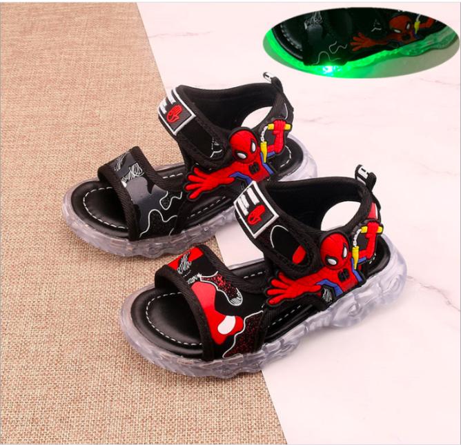 Giày xăng đan bé trai siêu nhân nhện có đèn Led từ 1 - 7tuổi giá rẻ