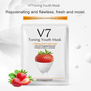 [1 miếng] Mặt nạ dưỡng ẩm trái cây V7 giàu tinh chất trái cây, mặt nạ dưỡng ẩm, kiểm soát dầu và làm trắng da mặt thumbnail
