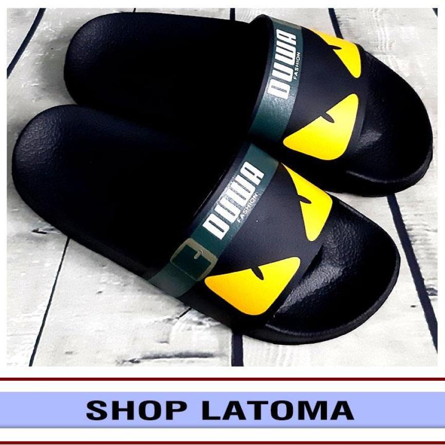 Dép quai ngang, dép bảng, dép nam nữ họa tiết mắt cáo trending thời trang cao cấp Latoma TA3352 (Quai Đen) giá rẻ