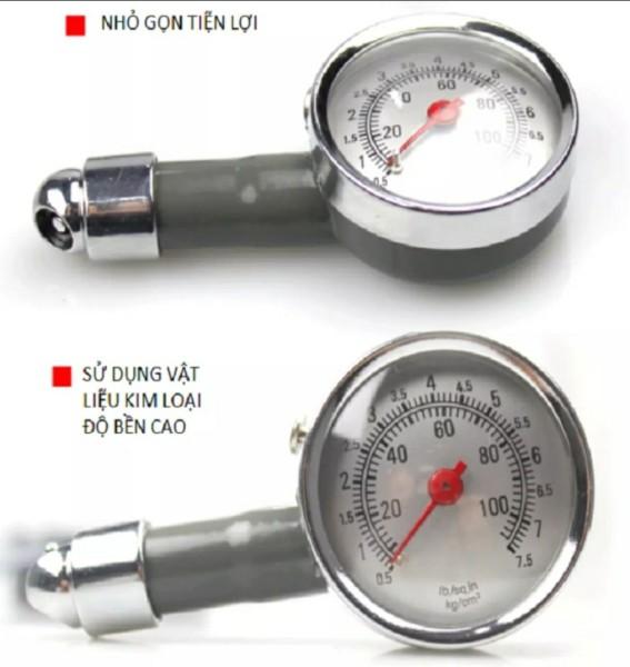 [XÃ HÀNG] Đồng hồ đo áp suất lốp xe máy , ô tô, xe hơi chất liệu inox cao cấp, độ chính xác cao