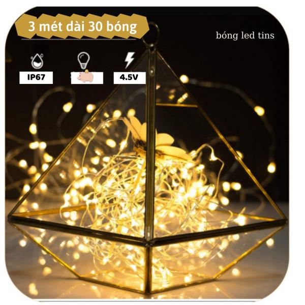 Bảng giá [ Dùng Pin 3A ] 3 mét dây đèn led đom đóm, dây led Fairy Light 30 bóng màu VÀNG và đủ màu,  trang trí nhà cửa