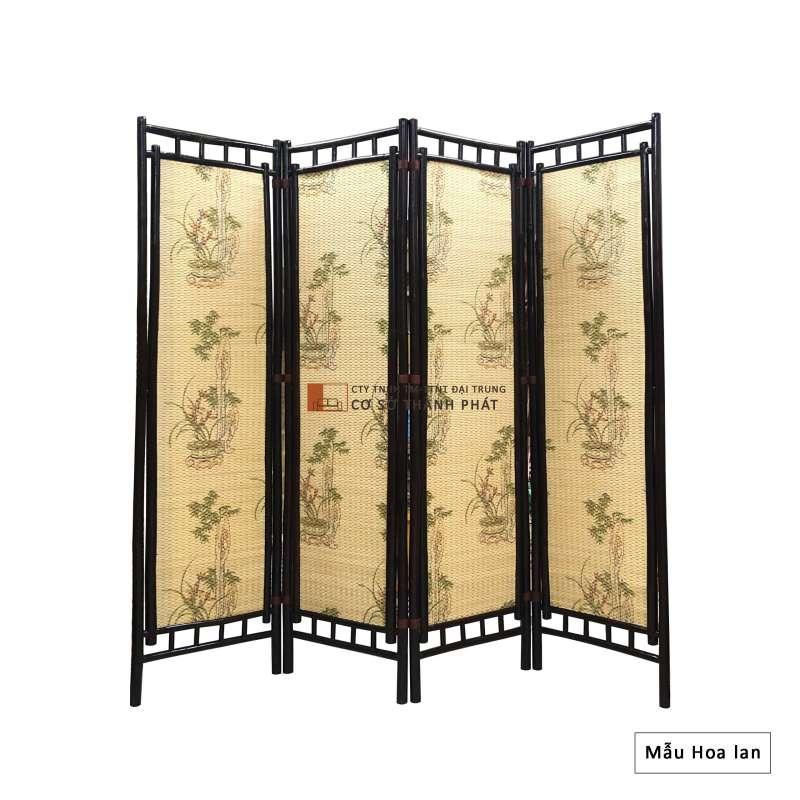 Bình phong tre khung nâu sơn PU, sơn bóng 4 cánh Đại Trung mẫu hoa lan 1m75 x 0.5m