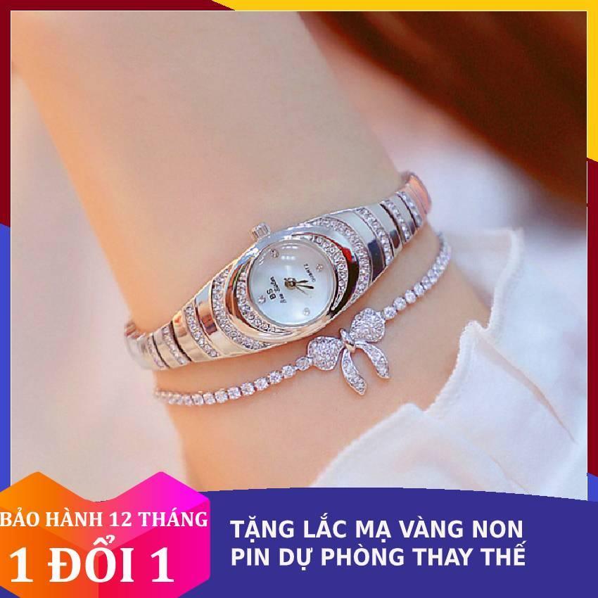 Đồng hồ nữ tính dây đính đá không gỉ Bee Sister mặt kính tráng sapphire chống xước cao cấp bán chạy
