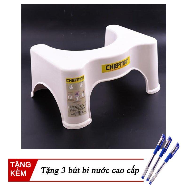 Ghế kê chân toilet giá rẻ chống táo bón Chefman (Trắng) + Tặng 3 bút bi xanh cao cấp