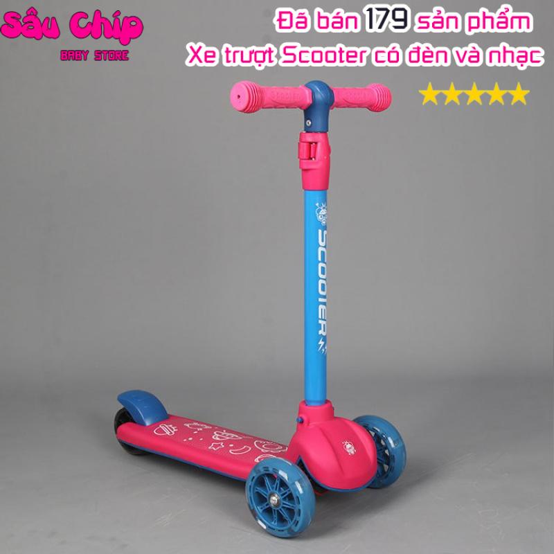 Mua Xe trượt scooter 3 bánh an toàn cho bé có nhạc và đèn led chịu lực 100kg, Đồ chơi trẻ em vận động, giúp bé phát triển