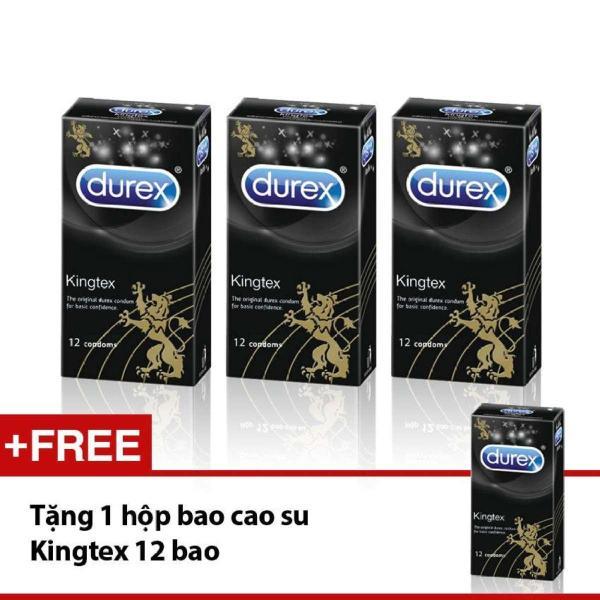 [Mua 3 Tang 1] Bo 3 hop Bao cao su Durex Kingtex  om khit 12 pcs.Tang 1 hop cung loai 12pcs cao cấp