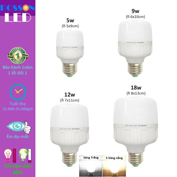 Bảng giá Bóng đèn Led trụ 5w 9w 10w 12w 18w bup trụ bulb kín chống nước tiết kiệm điện Posson LC-N5-18x