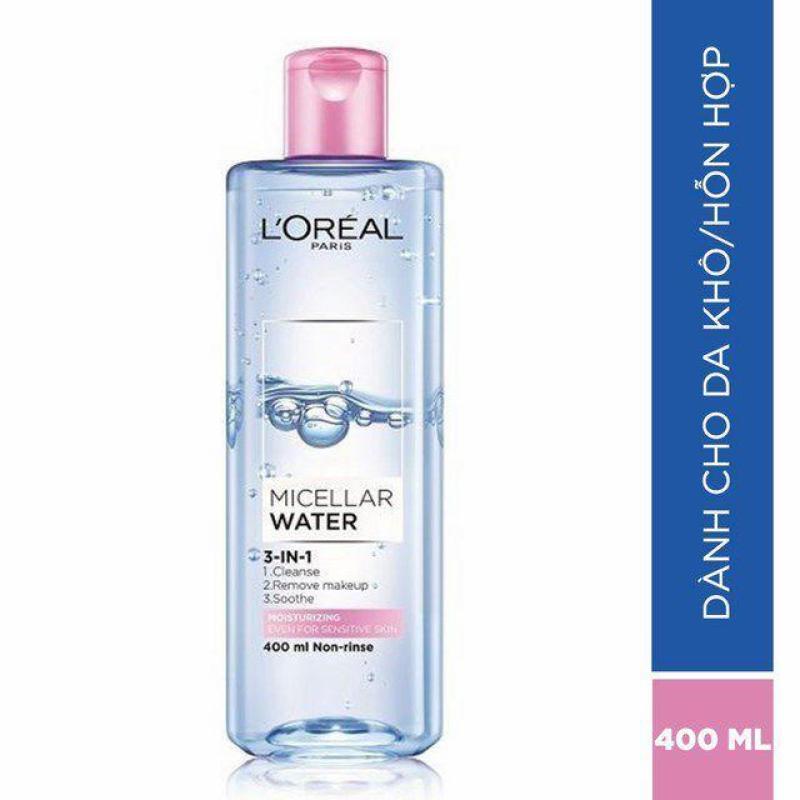 Nước tẩy trang dưỡng ẩm LOreal Paris 3 In 1 Micellar Water 400ml cao cấp