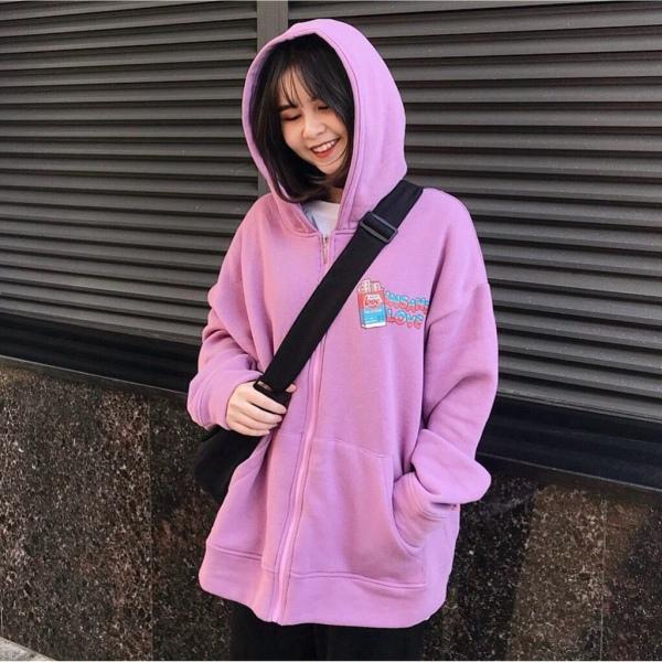 [FREESHIP TOÀN QUỐC] Áo khoác nam nữ form rộng đi học hoodie có dây kéo (love)
