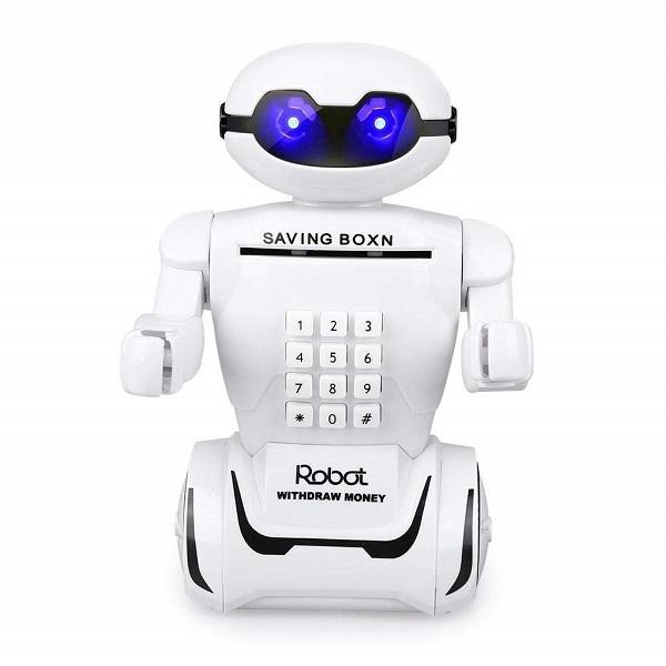 Két sắt mini đồ chơi Đèn học robot phát nhạc có két đựng tiền cho bé quà tặng ý nghĩa cho bé,Đèn học robot phát nhạc có két đựng tiền