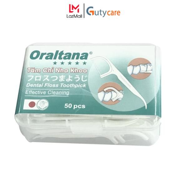 Tăm chỉ kẽ răng nha khoa y tế Oraltana 5 sao - Hộp 50 cây, vừa là chỉ nha khoa vừa dùng như tăm xỉa răng rất tiện lợi, sợi chỉ siêu dai, đầu tăm linh hoạt, sản xuất theo tiêu chuẩn quốc tế đạt chuẩn - Guty Care