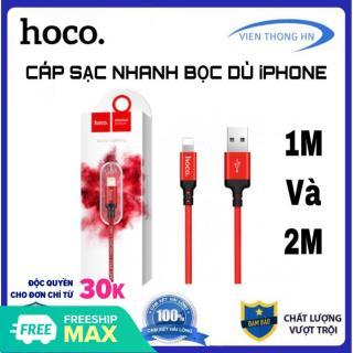 Cáp sạc dây sạc nhanh dây dù Hoco x14 1m và 2m - lightning cho iphone ipad hạn chế bẻ gập và đứt gãy trong quá trình sử dụng thumbnail