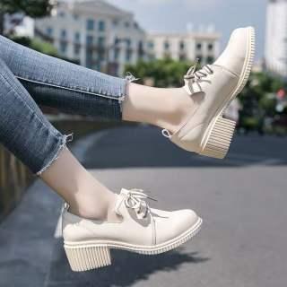 Aurora. An Giày Bệt Nữ Giày Oxford Chống Trượt Thoải Mái Cao Gót 5.5 Giày Da Nhỏ Phong Cách Đại Học Mũ Mũi Tròn Giày Đế Xuồng